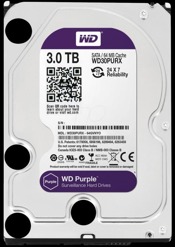 3.0 TB Western Digital Purple 7200 64MB WD30PURX SATA3