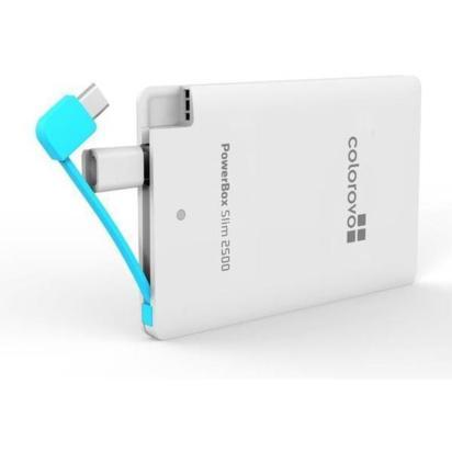 Colorovo Power Bank PowerBox Slim 2500 mAh, 5V/1A, MicroUSB csatl. fehér