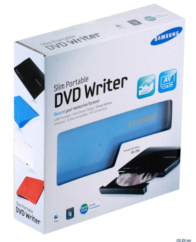 SAMSUNG SE-208DB/TSLS slim USB külső DVD iró, kék