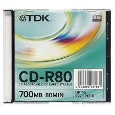 TDK írható CD-R80 52X Slim tokos