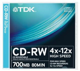 TDK írható CD-RW80 4-12X normál tokos