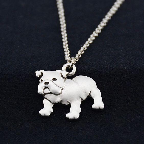 Angol bulldog medál, lánccal