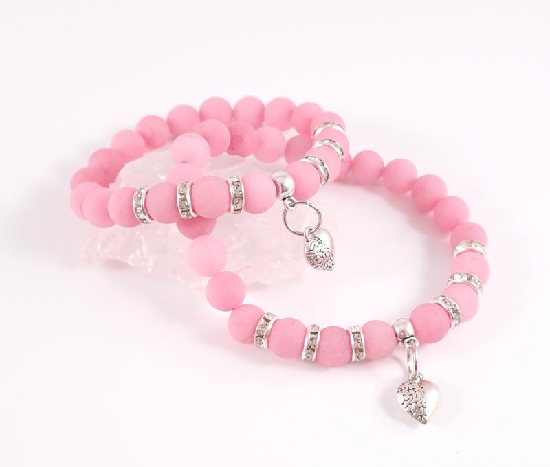 Anya-lánya rózsaszín achát karkötő