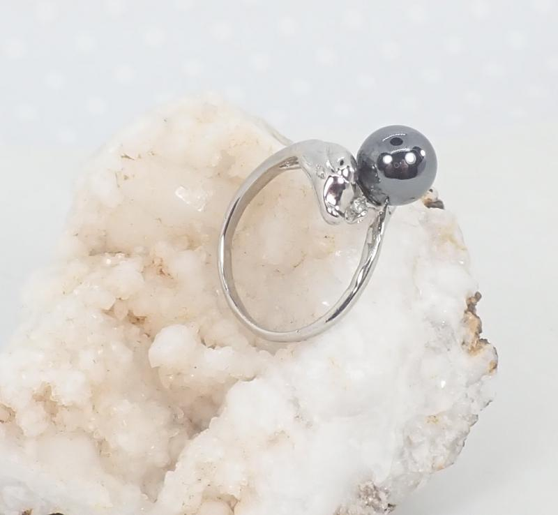 Ásvány gyűrű, delfines, hematit