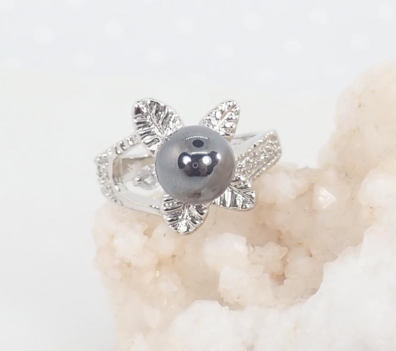 Ásvány gyűrű, leveles, hematit