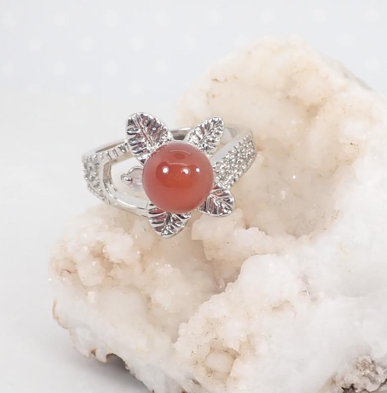 Ásvány gyűrű, leveles, karneol