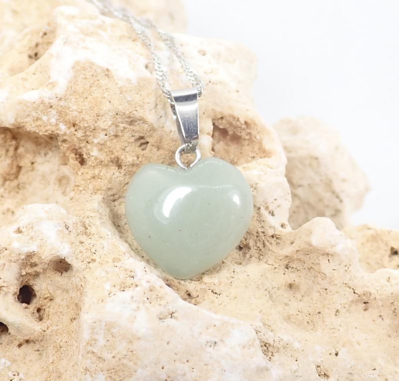 Aventurin szív medál, kisebb, nyaklánccal 2