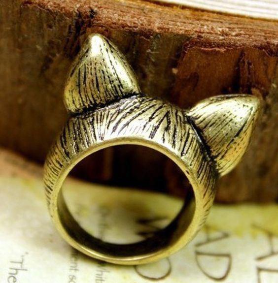 Cicafüles gyűrű bronz színű