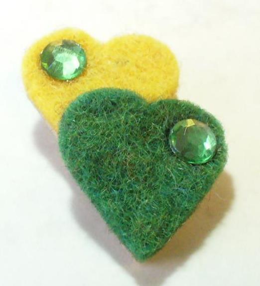 Dupla szív, zöld-sárga