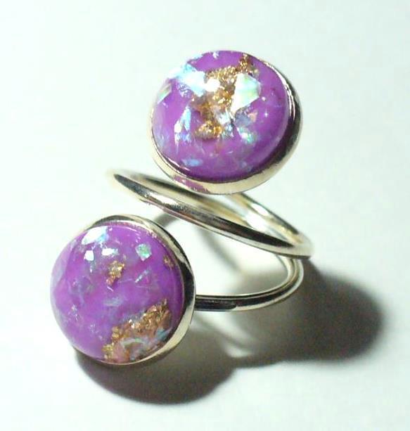 Gyűrű, 2 dísszel, lila