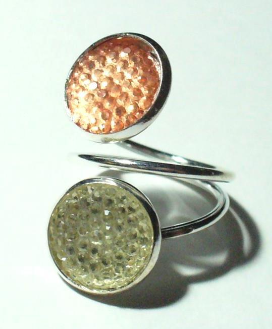 Gyűrű, 2 dísszel, pasztell