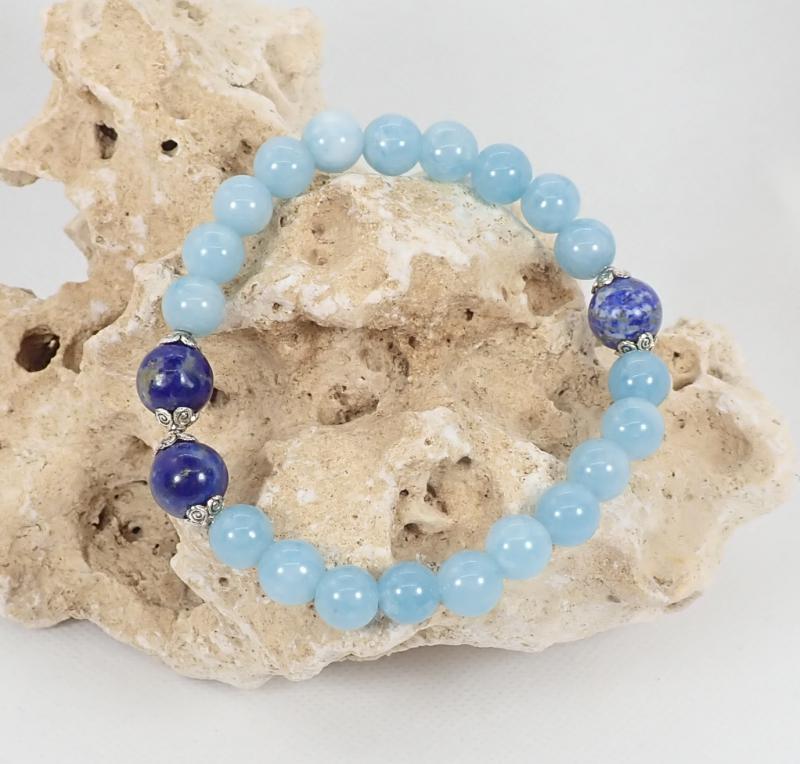 Három kék ásvány karkötő (XL)