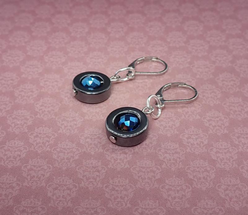 Hematit kör kékkel, fülbevaló 2