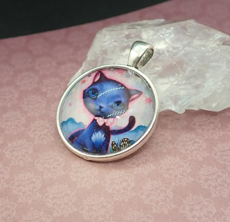 Kék cicás medál