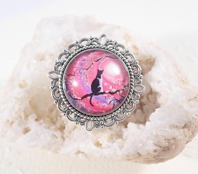 Kör alakú  ezüst szegélyes cicás gyűrű