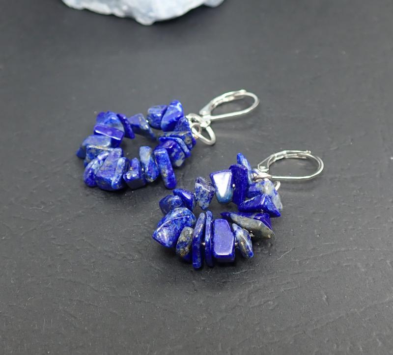 Lapis lazuli fülbevaló, ívelt