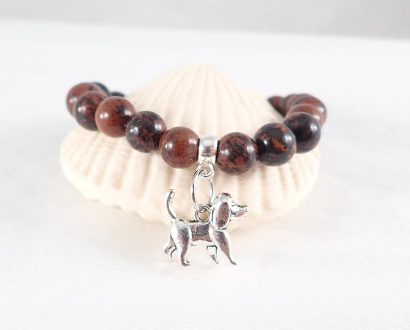 Mahagóni obszidián karkötő kutyus medállal