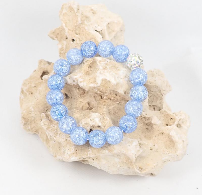 Roppantott gyöngy karkötő shamballával, kék (XS)