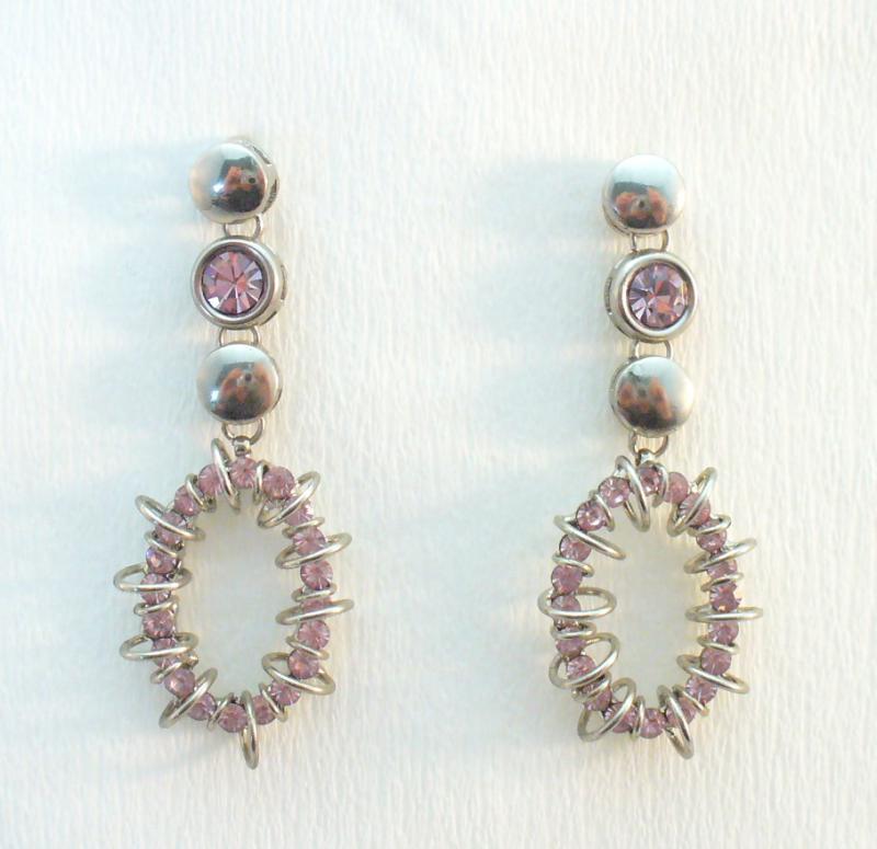 Rózsaszín és ezüst fülbevaló