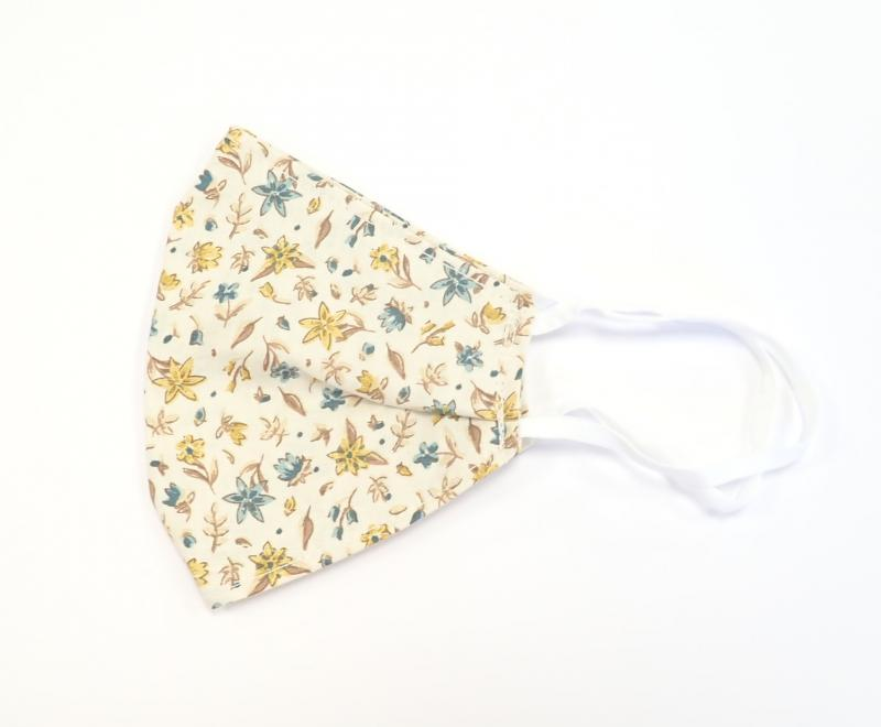 Sárga-türkiz virágos maszk S