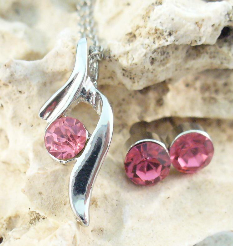 Szett rózsaszín kristályokkal