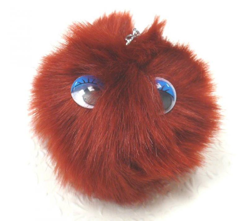 Szőrgombóc szemekkel (pompom), rozsdaszín