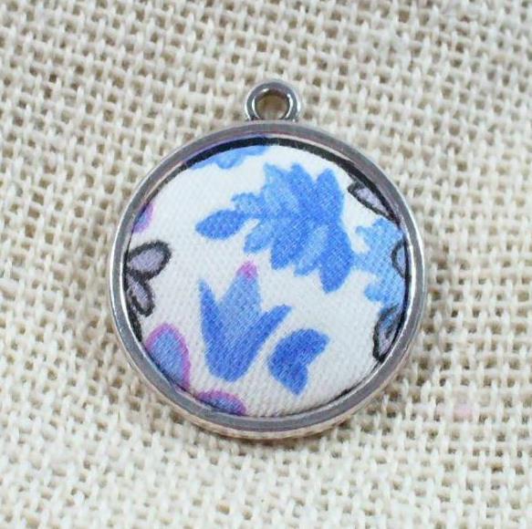 Textildíszes medál, kék