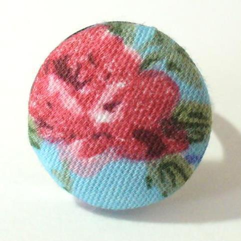 Textilgombos gyűrű, kék-vörös