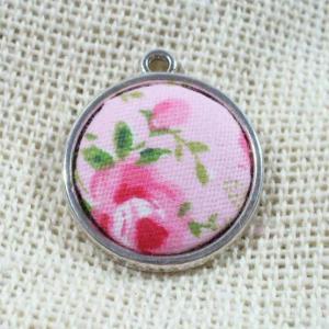 Textildíszes medál, rózsaszín