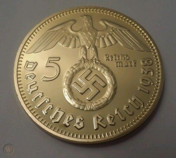 5 Reichsmark 1938 Paul von Hindenburg aranyozott utánveret
