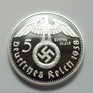 5 Reichsmark 1938 Paul von Hindenburg ezüstözött utánveret