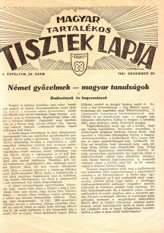 MAGYAR TARTALÉKOS TISZTEK LAPJA 1941. DECEMBER 20. II. ÉVFOLYAM, 24. SZÁM