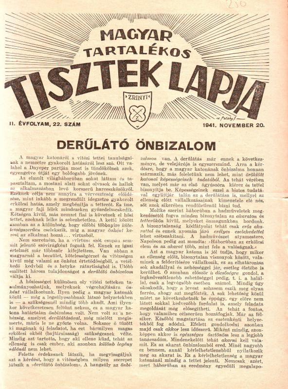 MAGYAR TARTALÉKOS TISZTEK LAPJA 1941. NOVEMBER 20. II. ÉVFOLYAM, 22. SZÁM