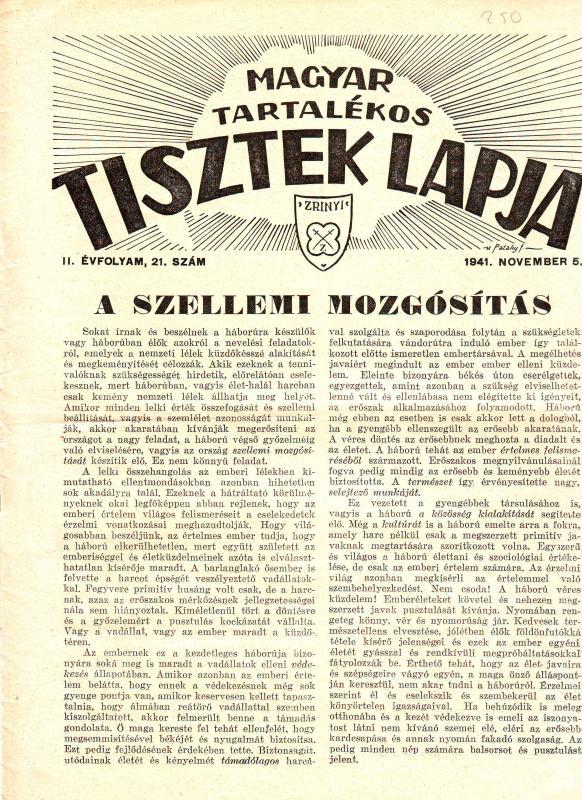 MAGYAR TARTALÉKOS TISZTEK LAPJA 1941. november 5. II. ÉVFOLYAM, 21. SZÁM