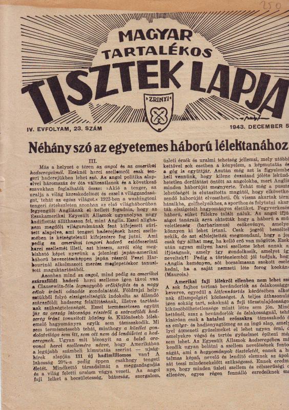 MAGYAR TARTALÉKOS TISZTEK LAPJA 1943. DECEMBER 5. IV. ÉVFOLYAM, 23. SZÁM