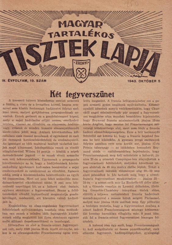 MAGYAR TARTALÉKOS TISZTEK LAPJA 1943. OKTÓBER 5. IV. ÉVFOLYAM, 19. SZÁM