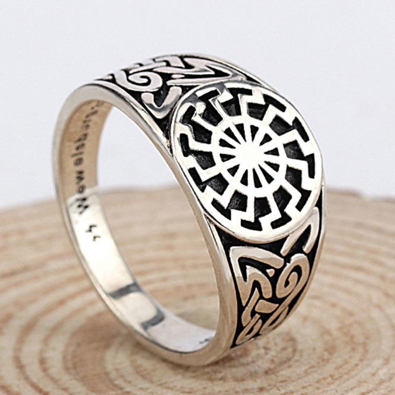 Schwarze Sonne gyűrű - Wewelsburg 925-ös ezüst