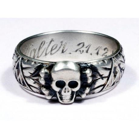 SS TOTENKOPFRING GYŰRŰ SLB Walter 21.12.44. 925 ezüstből