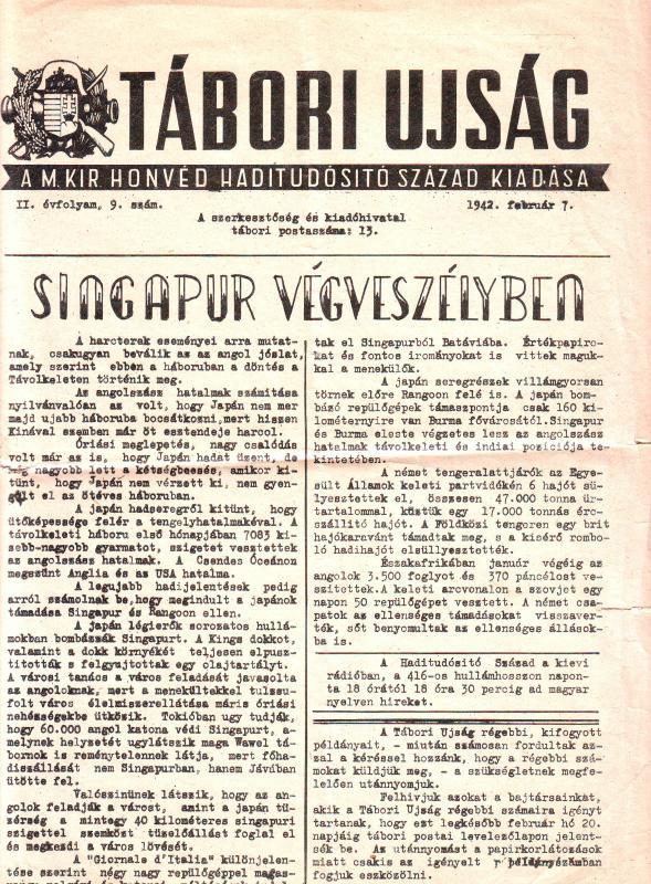 Tábori Újság II. évfolyam, 9. szám. 1942. február 7.