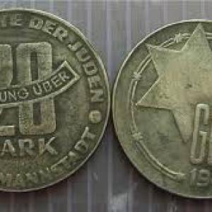 1943 20 márka Litzmannstadt zsidó gettó pénz