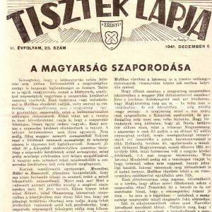 MAGYAR TARTALÉKOS TISZTEK LAPJA 1941. DECEMBER 5. II. ÉVFOLYAM, 23. SZÁM
