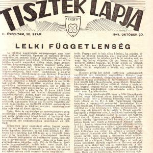 MAGYAR TARTALÉKOS TISZTEK LAPJA 1941. OKTÓBER 20. II. ÉVFOLYAM, 20. SZÁM