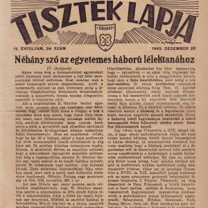 MAGYAR TARTALÉKOS TISZTEK LAPJA 1943. DECEMBER 20. IV. ÉVFOLYAM, 24. SZÁM