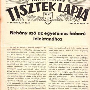 MAGYAR TARTALÉKOS TISZTEK LAPJA 1943. NOVEMBER 20. IV. ÉVFOLYAM, 22. SZÁM
