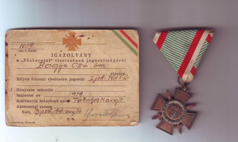Tűzkerszt I. fokozata 1941/42 fordított beütéssel, igazolvánnyal