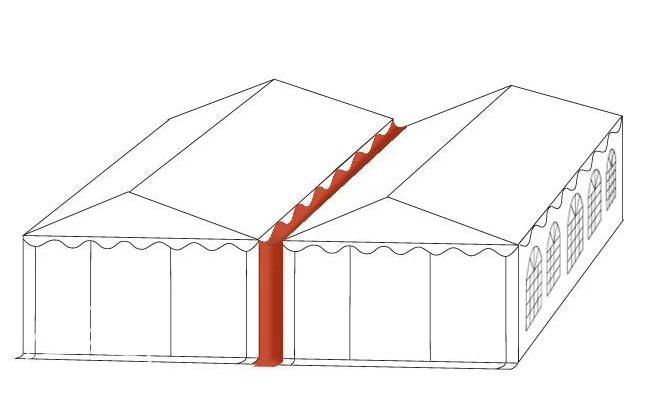 Esőcsatorna összekötő elem rendezvénysátor 8 m PVC magassága 2,6 m fehér