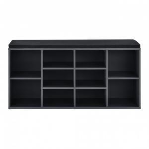 Cipős szekrény, cipő tartó pad párnával szürke/fekete