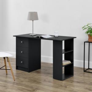 Íróasztal fiókkal, tároló résszel fekete