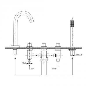 Modern  5 lyukas kádperemre szerelhető csaptelep