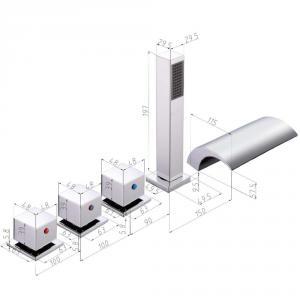 Modern kádperemre szerelhető csaptelep ötrészes Ar.3153